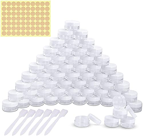 Nealan Vasos, tarros de crema, latas vacías, mini botellas con cierre de rosca, mini latas, esmalte de uñas, 5 g 5 ml transparente (50, blanco)