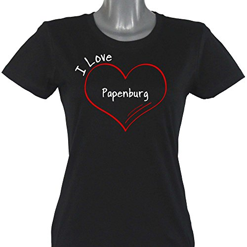 Damen T-Shirt Modern I Love Papenburg - schwarz - Größe S bis 2XL, Größe:XXL