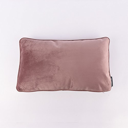 SCHÖNER LIBEN. Velvet Cushion with Piping Border and Feather Filling 30 x 50 cm Antique Pink