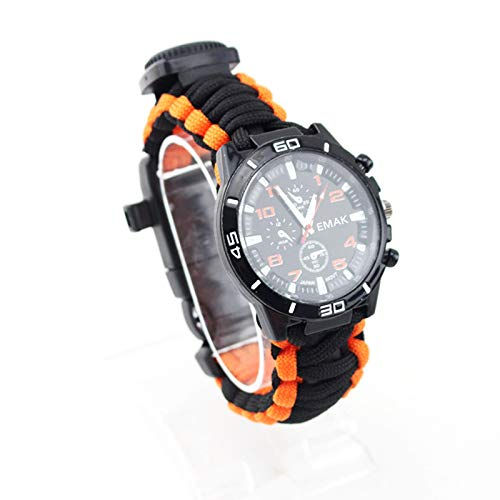 16 in 1 Sports Survival Armband, Multifunctionele Militaire Kompas Outdoor Bergsport Waterdicht Horloge Fire Starter Fishing Kit Rescue Whistle Thermometer,F