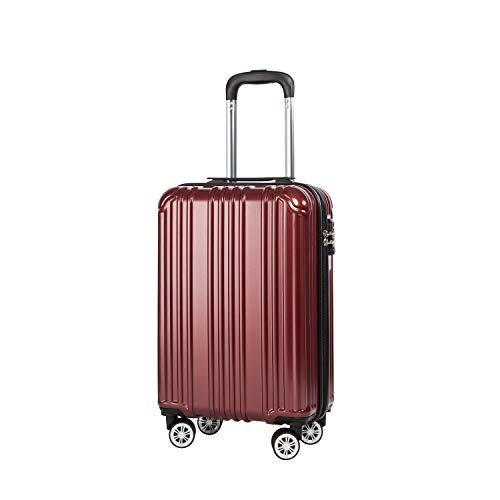 COOLIFE Lightweight 55cm Hard Shell 4 Wheel Travel Carry On Hand Cabin Luggage Suitcase with TSA Lock Approved for easyJet British Airways Ryanair (Wine Red, S(55cm 38L)_Carry-on)