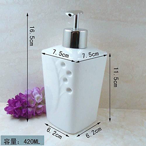 Tangrong Vloeibare zeep Container, Vintage Refillable Eco Resin keramische zeepdispenser, Oriental Industrial Punten Reliëf Witte Keramiek Shampoo Hand Sanitizer fles, 420ml