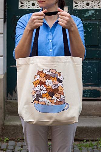 BagCouture stylische geräumige Tragetasche | mit Innentasche, Reißverschluss, und großem Boden | mit Katzenmotiv | Baumwolltasche, Stofftasche, Shopper Handtasche | Cup of Cats
