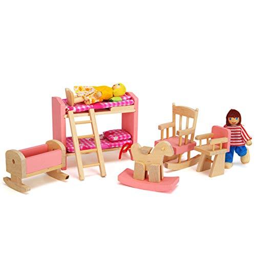 Muñeca Muebles De La Casa De Madera del Juguete 1 12 Escala Miniatura Dormitorio Conjunto De Juguete Niños Cama De Muñecas DIY Accesorios Rosa