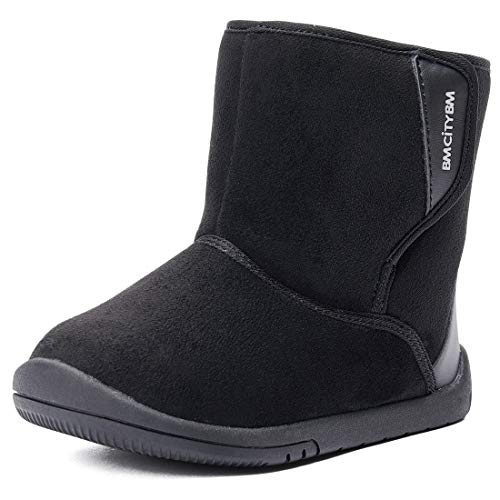 BMCiTYBM Baby Snow Boots Boys Girls Winter Fur Lined Shoes 6 9 12 18 24 Months Black Size 5 (Infant/Toddler/Little Kid)