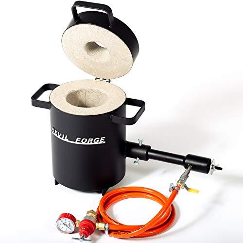 FB1S - Horno de fusión de gas propano para metales | peso de fusión 2 kg | con 1 quemador DFP (80.000 BTU) | joyeros herreros refinerias | Oro Plata Cobre Aluminio Latón Bronce Estaño| Premium