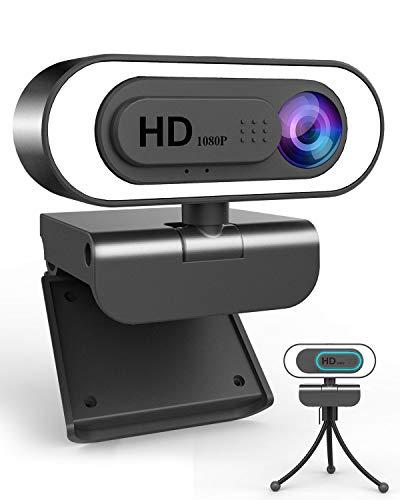 1080P Webcam mit Mikrofon&Ringlicht,lesvtu HD Web Kamera mit Abdeckung und Stativ für PC/MAC/Laptop/Desktop, USB Web Cam Streaming für YouTube,Skype,Zoom,Xbox,Lernen, Videokonferenz und Videoanrufe