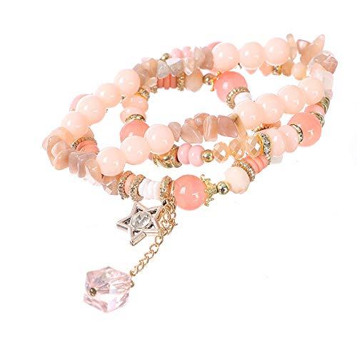 Bracelet en parels D'Alliage Pour Femme, multi-layer parels armband roze bohemian imitatie natuursteen kristal beaded legering decoratieve hanger armband vrouwelijk sieraad gepersonaliseerde kleding