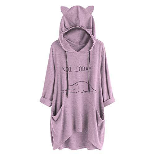 VEMOW Damenmode Tasche Lose Kleid Damen Rundhalsausschnitt beiläufige Tägliche Lange Tops Kleid Plus Größe(Y3-a-a-Violett, 42 DE/S CN)