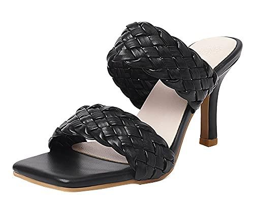 Zapatillas de estar por casa para mujer, sandalias sexys, con correa trenzada, tacones altos, color Negro, talla 36.5 EU