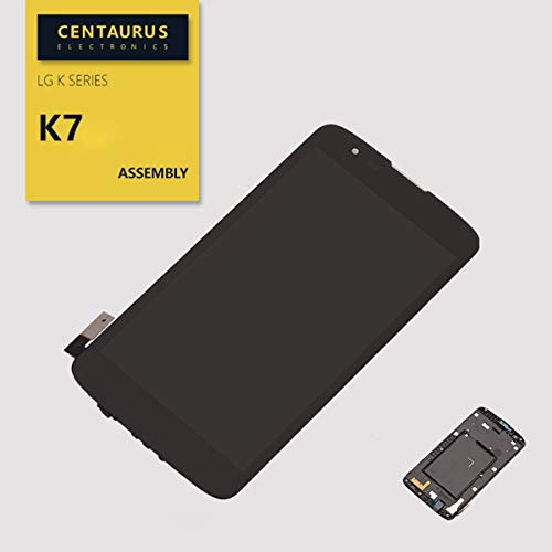 CENTAURUS Tribute 5 LCD Display Touch Screen Digitizer Panel with Bezel Frame Replacement for LG Series K7 MS330 K MetroPCS Tribute 5 LS675 K330 5.0 inch (Black)