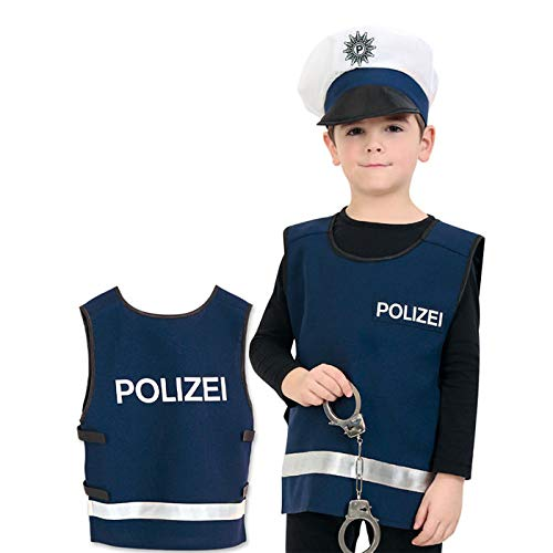 PARTY DISCOUNT® Kinder-Kostüm Polizei Weste, blau, Gr. 128
