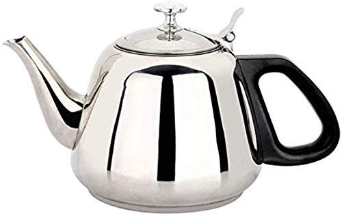 SKYEI Caldera de té de silbido de Acero Inoxidable con la compatibilidad con la manija Negra con Todas Las Estufas, Incluidas Las cocinas de inducción, la Taza de té de la Olla de té 1L