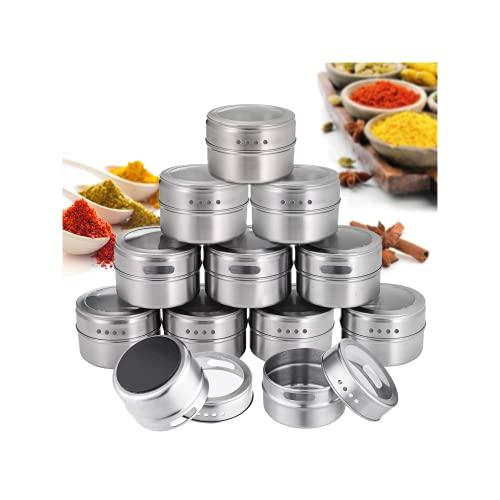 Janolia 12pcs Botes para Especias, Recipientes de Condimento con Acero Inoxidable Anti-Polvo, Botes Magnéticas por Refrigerador, Ideal para Sal, Pimienta, Hierbas y Especias