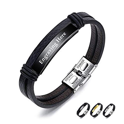 XiXi Bracelet Personnalisé ID Bracelet PU Cuir Bracelet pour Homme Nom Personnalisable Acier Inoxydable Bracelets Prenom Gravure Cadeau pour Anniversaire La Saint Valentin (Noir)