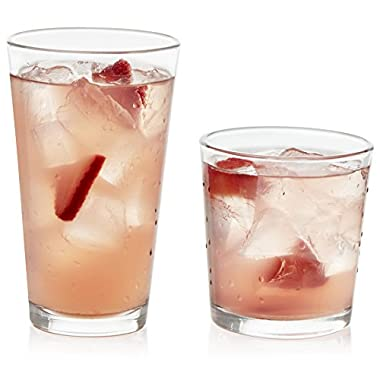 Libbey Flare 16 Piece Drinkware Glass Set, Clear