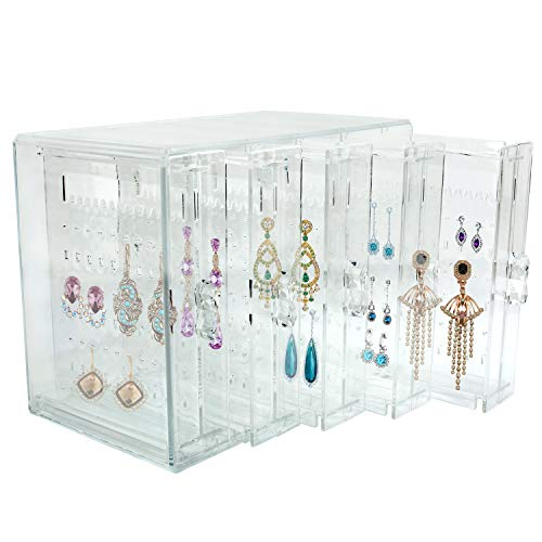 Discoball Acrylic 5 Panels Earrings Holder Dustproof Jewellery Organiser Display