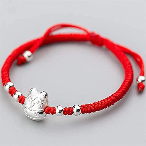 Cuentas de arte de piedras preciosas de la niña Feng shui riqueza pulsera de plata esterlina gato cuerda rojo trenzado pulsera plateado accesorios ajustable diamante nudo pulsera atrae la riqueza alej