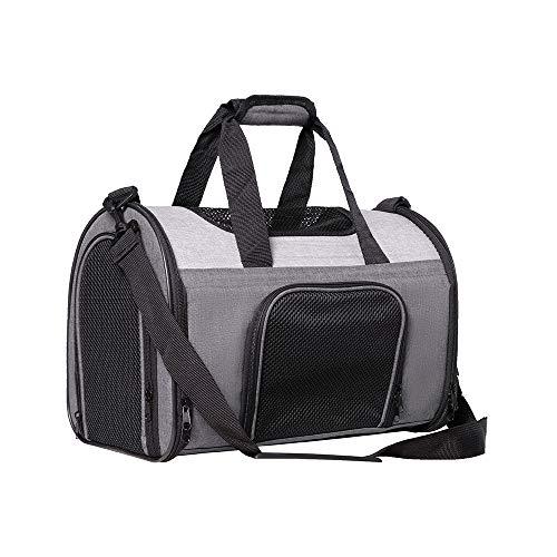 Zedelmaier Faltbare Hundetasche, Hundetragetasche, Katzentragetasche, Transporttasche Transportbox für Hunde und Katzen (M - 41 x 24 x 29 cm, Grau)