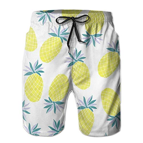 Jieaiuoo Men Beachwear Swim Trunks Pineapple Water Resistant Running Beach Summer with Pockets L