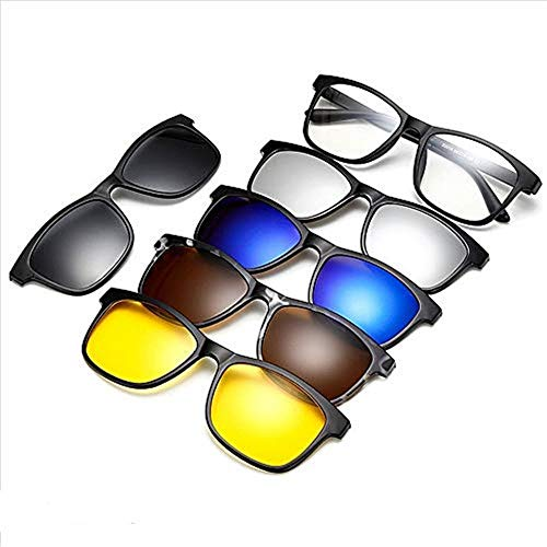 HNZZ TMRTCGY Klassieke Mode Bril Frame Mannen En Vrouwen Bijziendheid Clip-on Zonnebril Vijfdelige Magnetische Set Spiegel Mannen En Vrouwen Retro Frame Bril