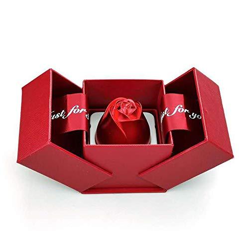 Caja de anillo de rosa, caja de anillo de compromiso roja, caja de regalo de joyería, collar de alta calidad con colgante de regalo para tu pareja.