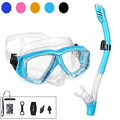 OMGear Snorkel Set Snorkeling Gear Package Diving Set Premium Silicone Dive Mask Snorkel Equipment Goggles Anti-Fog Anti-Leak Neoprene Mask Strap Scuba Diving Freediving Spearfishing Swimming (Aqua1)