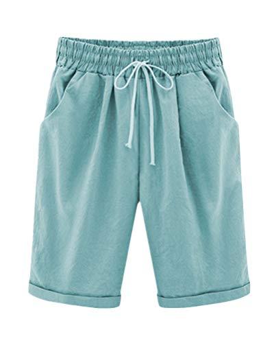 ShallGood Pantaloncini Estate Elastico in Vita da Donna Bermuda Spiaggia Shorts Pantaloni Corti Vita Alta Puro Colore Casual Elastica Hotpants Shorts (Medium, Blu)