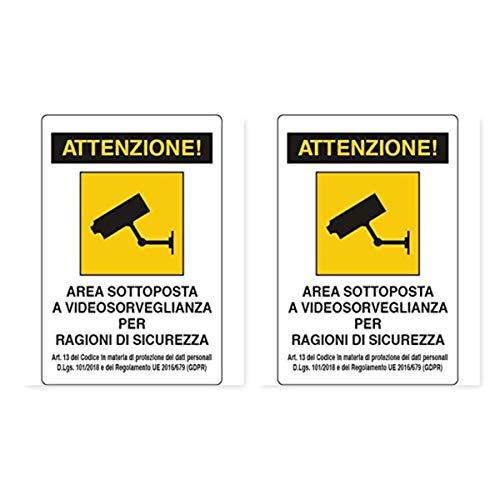 CARTELLI SEGNALETICI'AREA SOTTOPOSTA A VIDEOSORVEGLIANZA 20X30 cm GDPR' IN PVC (2)