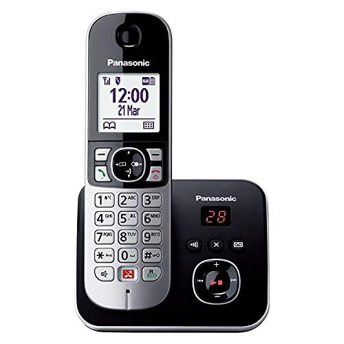 Panasonic KX-TG6861GB Schnurlostelefon mit Anrufbeantworter (Bis zu 1.000 Telefonnummern sperren, übersichtliche Schriftgröße, lauter Hörer, Voll-Duplex Freisprechen) schwarz-silber