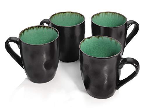 Sänger Kaffeebecher Palm Beach aus Porzellan 4 teilig | Füllmenge der Becher 350 ml | Geschirr mit Reisslack Effekt bestehend aus Tassen in Vintage Optik