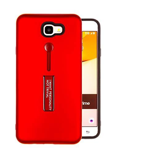 COOVY® Cover für Samsung Galaxy J7 Prime SM-G610Y /Duos SM-G610F / DS / On7 Bumper Hülle, Doppelschicht aus Plastik + TPU-Silikon mit Halteschlaufe, Standfunktion | Farbe rot