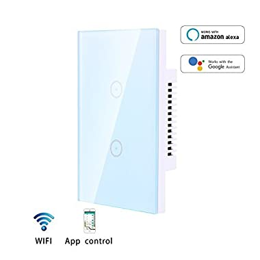 Home Smart Wifi Light Switch, Smartphone App Control 2 Switches in 1 Gang Wall Box US Standard Touch Sensitive Glass Panel,Combination Switch Compatible with Alexa, Neutral Wire Required