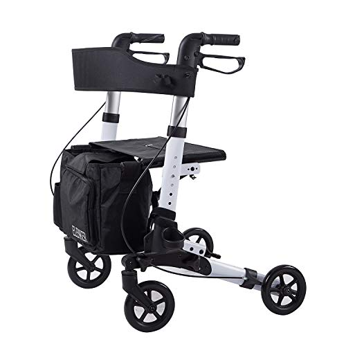 cheap ELENKER lightweight walker, stable walker with foldable compact seat, removable …
