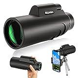 MOEGFY Monocular 12 x 55 HD Impermeable monoculo Telescopio Zoom con Adaptador de Soporte para Phone y trípode FMC BAK4 Portatil Telescopio Monocular para Viajes de Caza