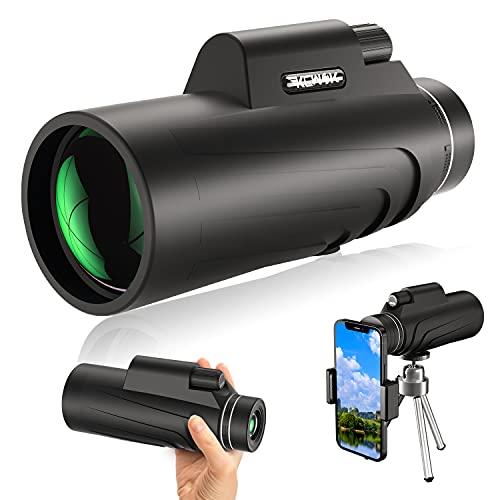 MOEGFY 12x50 HD Monokular Teleskop, Mit Smartphone Halter & Stativ FMC BAK4 Prisma wasserdichtes Monokular Fernglas, Für Vogelbeobachtung, Camping, Wandern, Reisen, Jagd