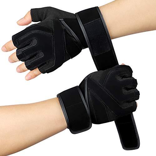 Hotchy Fitness Handschuhe, Semi-Finger atmungsaktiv rutschfeste Handgelenkschutz Männer und Frauen Bodybuilding Sport Trainingshandschuhe für Krafttraining Gewichtheben, Radfahren - XL