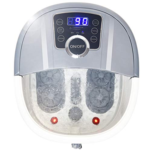 Giantex Foot Spa Bath Massager with Heat, Bubbles, 16 Pedicure Shiatsu Roller Massage Points, Frequency Conversion Power Saving, Adjustable Time & Temperature, LED Display, Drainage Pipe (Gray)
