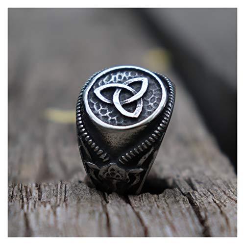 TZZD Anillo de acero inoxidable 316L para hombre, diseño de nudo celta, satanás, cabra, diablo, motociclista, joyería (tamaño del anillo: 10)