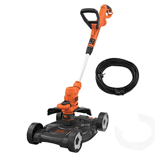 Black+Decker 3-in-1 Multi-Trimmer-Kit (550 W, Rasenkantenschneider, Motorsense, 30 cm Schnittbreite, inkl. Rasenmäher-Chassis CM100, 10 m Verlängerungskabel) ST5530CMCAK