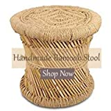 Handmakers | Bamboo Beige Rajasthani Stool/Chair | Bar Stool | Cane Stool(15x15inch) - Handmakers (Standard, Beige)
