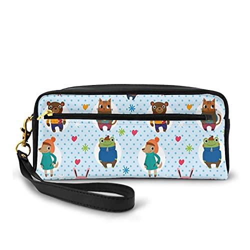 Con bolsa de lápiz con cremallera,Ilustración de animales con sombreros de ropa de invierno café caliente sobre un fondo punteado,Estuche pequeño maquillaje bolsa