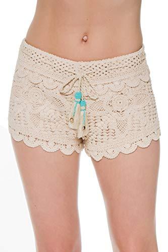 Surf Gypsy Women's Wovens Crochet Tassel Tie Shorts Swim Cover Up Ivory/Turq S