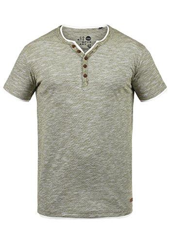 !Solid Digos Herren T-Shirt Kurzarm Shirt Mit Grandad-Ausschnitt Im Double-Layer Look Aus 100% Baumwolle, Größe:L, Farbe:Dusty Oliv (3784)