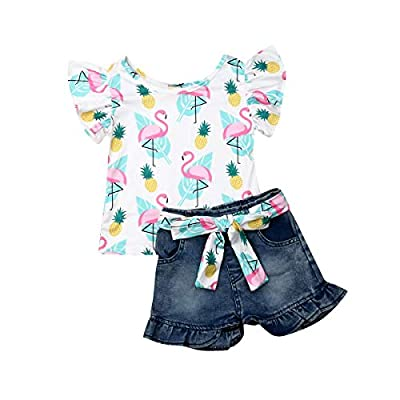 2Pcs/Set Fashion Toddler Kids Baby Girl Boy Summer Outfits Sleeveless Tassel T-Shirt Top+Floral Shorts Clothes Set 6M-5T (Flamingo, 4-5 Years) from