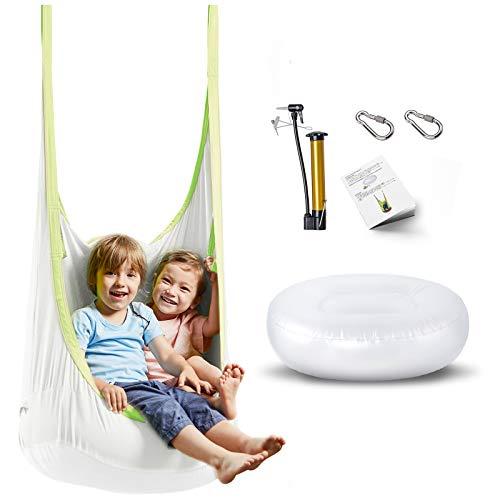happypie Frog Hanging Pod Swing Seat Indoor ed Outdoor Hammock per bambini ad adulti 100% cotone - bianco