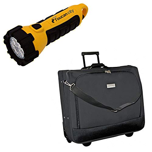 Toucan City LED Flashlight and Geoffrey Beene Black Rolling Garment Carrier GB280-42