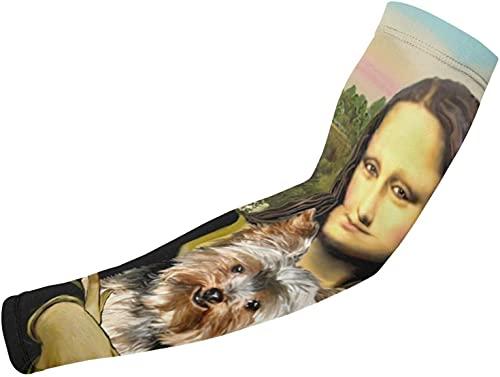 Yorkshire Terrier Art Dog Mona LisaPrinted Theme 1 par de mangas de protección para el brazo para hombres, mujeres, niños, bloqueador solar, guantes protectores, correr, golf, ciclismo, deportes