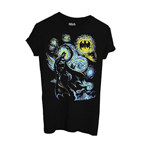 MUSH T-Shirt Batman Notte Stellata Van Gogh - Film by Dress Your Style - Donna-M-Nera