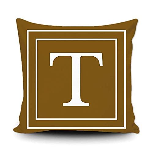 Funda de almohada marrón con letra blanca monograma T y rayas del alfabeto inglés inicial decorativa cuadrada funda de cojín para cama sofá sofá 45,7 x 45,7 cm, impresión de doble cara